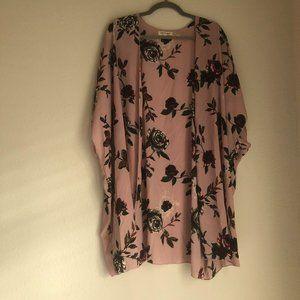 Living Doll Blush Pink Floral Kimono Size XL